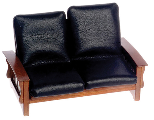 Dollhouse Miniature Sofa, Black Leather, Walnut