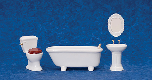 Dollhouse Miniature Porcelain Bath Set, 4 Pc, White