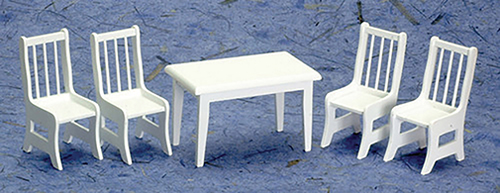 Dollhouse Miniature Table with 4 Chairs, White