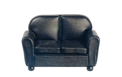 Dollhouse Miniature Loveseat, Black Leather