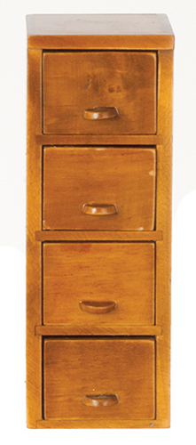 Dollhouse Miniature File Cabinet, Walnut