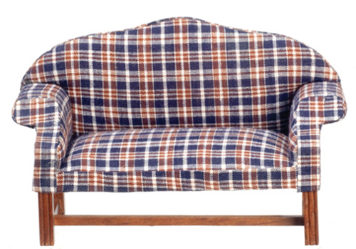 Dollhouse Miniature Dark Plaid Settee, Walnut