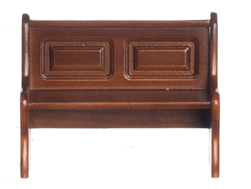 Dollhouse Miniature Long Bench with Back, Walnut
