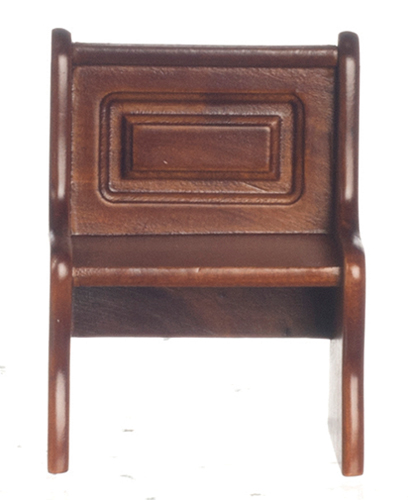 Dollhouse Miniature Short Bench with Back, Walnut