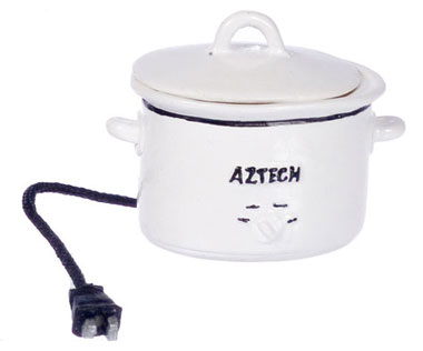 Dollhouse Miniature Electric Crockpot, White