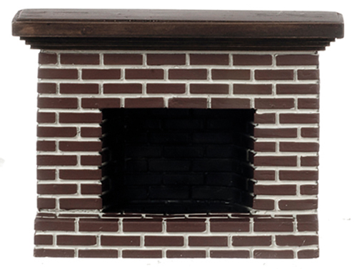 Dollhouse Miniature Small Red Brick Fireplace
