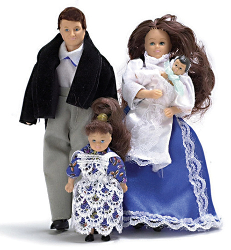 Dollhouse Miniature Victorian Doll Family/4, Brunette