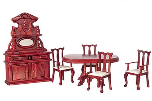 Dollhouse Dining Room Set Mahogany 6 Pc Az00802 Just Miniature