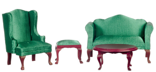 Dollhouse Miniature Queen Anne Living Room, Green, 4Pc