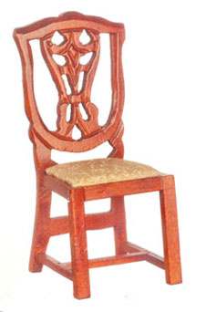 Dollhouse Miniature Victorian Side Chair, Mahogany