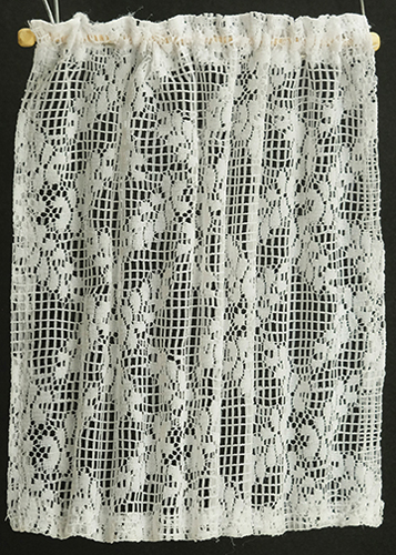 Dollhouse Miniature Curtains: Flowered Lace Sheer,  White