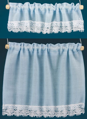 Dollhouse Miniature Curtains: Cottage Set, Blue