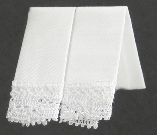 Dollhouse Miniature Kitchen Dish Towels: White