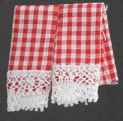 Dollhouse Miniature Kitchen Dish Towels, Gingham Red