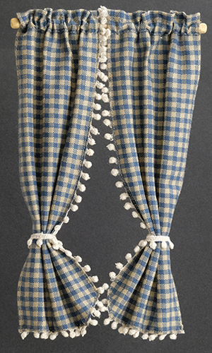 Dollhouse Miniature Country Curtains: Blue