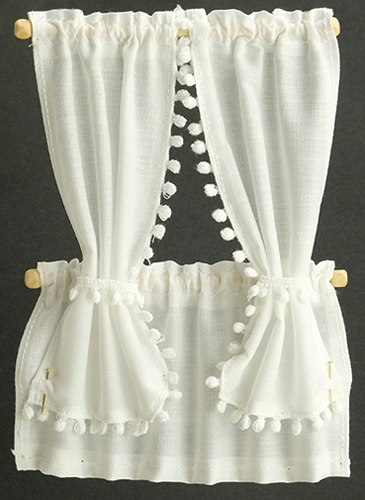 Dollhouse Miniature Cabin Curtains: White