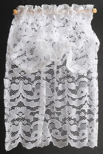 Dollhouse Miniature Curtains: Lace with Balloon Valance, White