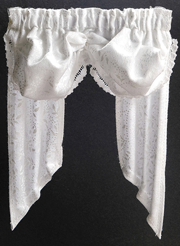 Dollhouse Miniature Valance: Double Balloon, White Leaves