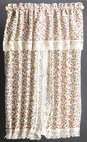 Dollhouse Miniature Window Drape, Floral with  Lace Trim