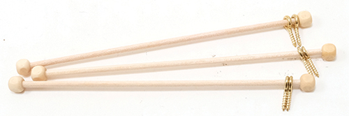 "Dollhouse Miniature Rods W/Eyes, 3 Pack- 4"" Long"