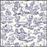 Dollhouse Miniature Wallpaper: Champagne Toile Blue