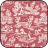 "Dollhouse Miniature Cotton Fabric: Reverse Toile Red 9.5""X17.375"