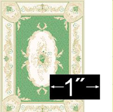 "Dollhouse Miniature Rug: Aubusson Green, 1/4"" Scale"