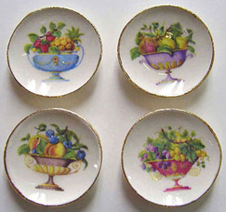 Dollhouse Miniature 4 Fruit Bowl Plates