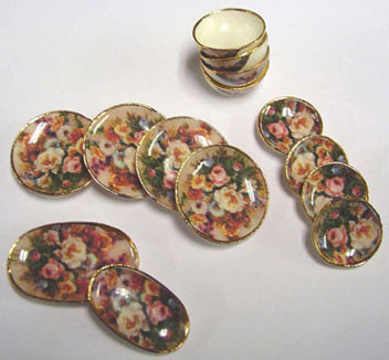 Dollhouse Miniature Flower Dinnerware Set