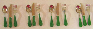 Dollhouse Miniature 12Pc. Flatware Set-Green