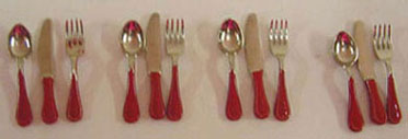 Dollhouse Miniature 12Pc. Flatware Set-Red