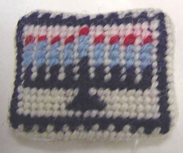 Dollhouse Miniature Menorah Needlepoint Pillow