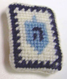 Dollhouse Miniature Dreidel Needlepoint Pillow