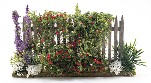 Dollhouse Miniature Fence with Roses