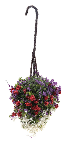 Dollhouse Miniature Hanging Basket: Red-Purple-White