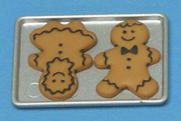 Dollhouse Miniature Gingerbread Boy & Girl On Cookie Sheet