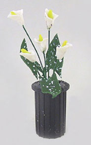 Dollhouse Miniature Vase Black with Calla Lilies