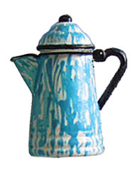 Dollhouse Miniature Coffee Pot, Flow Blue