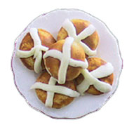Dollhouse Miniature Hot Cross Buns On Plate