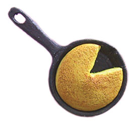 Dollhouse Miniature Skillet Cornbread In Pan