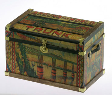 Dollhouse Miniature Lithograph Wooden Trunk Kit, Bliss Travel