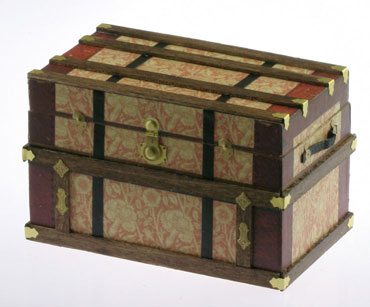 Dollhouse Miniature Lithograph Wooden Trunk Kit, Wm Morris 2