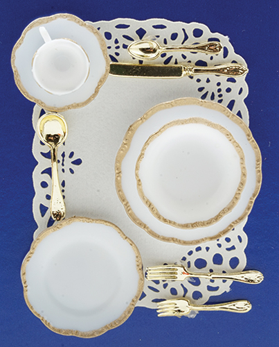 Dollhouse Miniature 1 Place Table Setting-Gold Trim