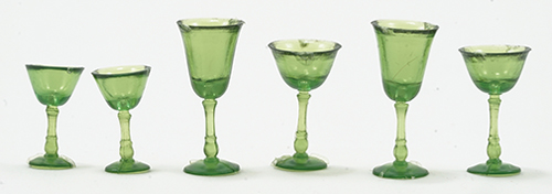 Dollhouse Miniature Stemware, Green, 6 Pc