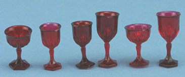 Dollhouse Miniature Stemware, Ruby, 6/Pc