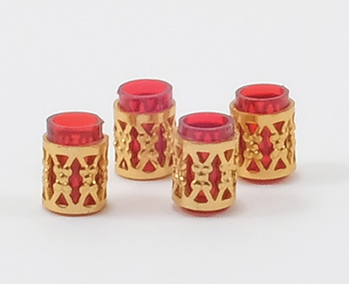 Dollhouse Miniature Tumbler W/Filigree, 4/Pc