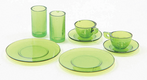 Dollhouse Miniature Dishes, Green, 8 Pc