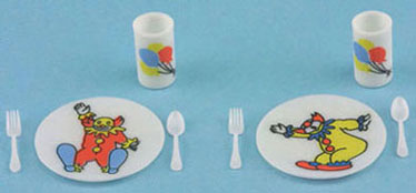 Dollhouse Miniature Circus Dish Set, Bright
