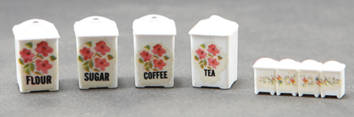 Dollhouse Miniature Canister Set, Pink Floral