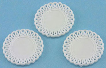 Dollhouse Miniature Lace-Edged Plates, (3)